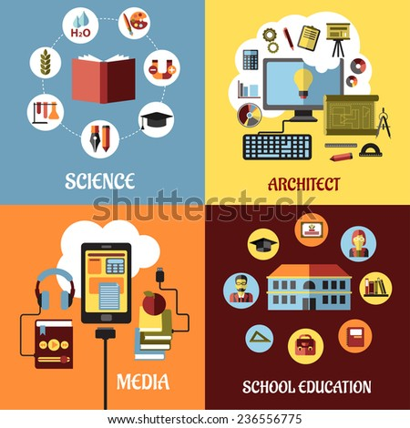 Educational concept designs in flat style with architect, science, school, web education and media icons or elements - stock vector