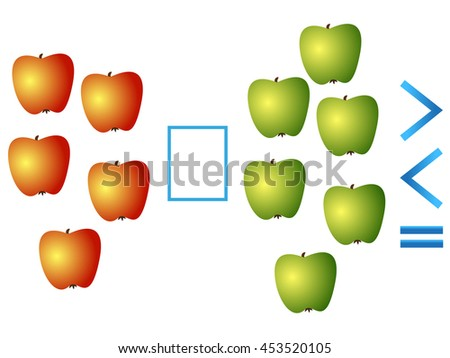 Educational game for children, comparison of the number of apples. - stock vector