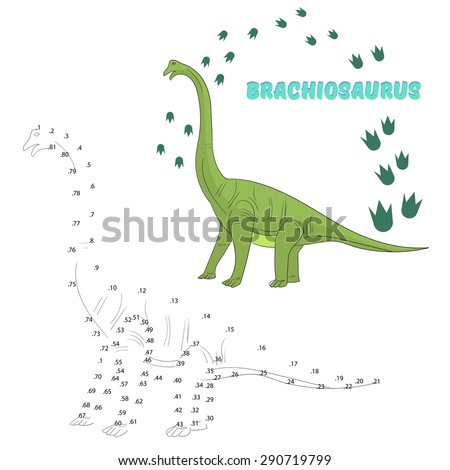 Educational game for children connect the dots to draw dinosaur vector illustration - stock vector