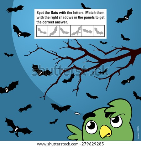 Educational game for children meant to stimulate attention through matching shadows of halloween cartoon bats flying in the moonlight being watched by a funny owl, vector illustration - stock vector