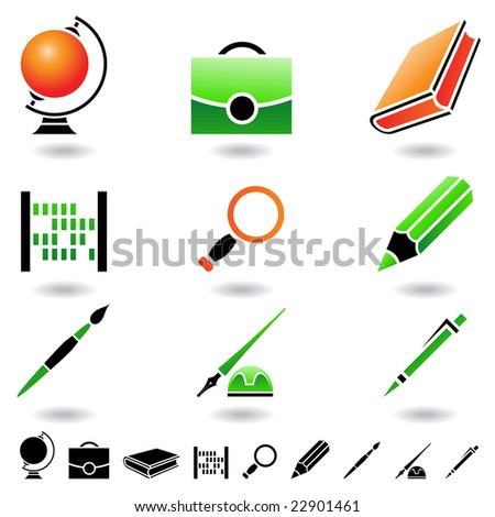 Educational icons and design elements isolated on white - stock vector