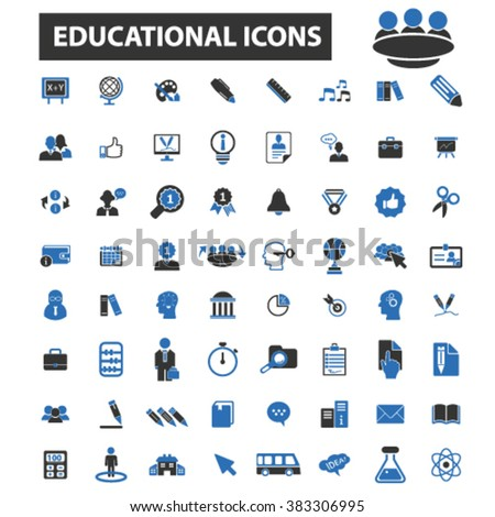 educational icons icons - stock vector