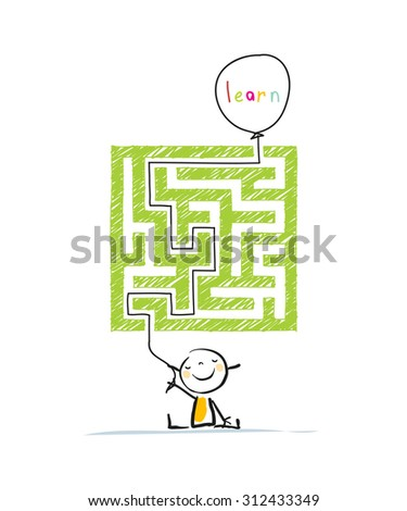 Educational learning for kids conceptual vector illustration, with labyrinth, maze. Doodle style hand drawn illustration.  - stock vector