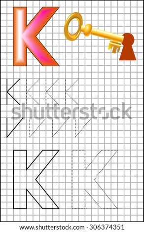 Educational page with alphabet letter K on a square paper. Developing skills for writing and drawing. Vector image.