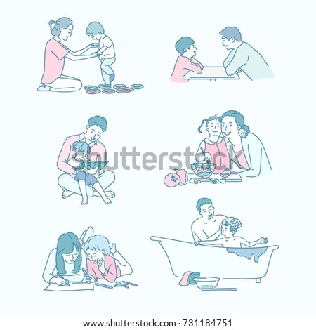 Educational ties between parents and children vector illustration flat design
