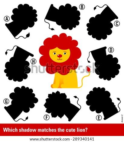 Educative game for children meant to stimulate intelligence through matching young lion with red mane with the right shadow, cute vector cartoon illustration - stock vector