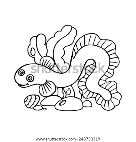 Eel cartoon illustration isolated on white without color - stock vector