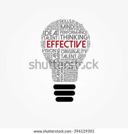 Effective bulb word cloud, education concept