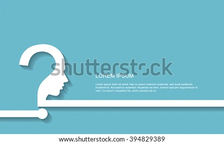 Effective thinking background with head in shape of question mark, vector