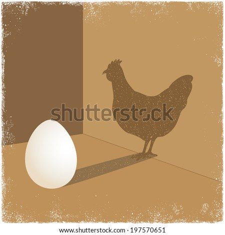 Egg casting shadow of chicken in vector - stock vector
