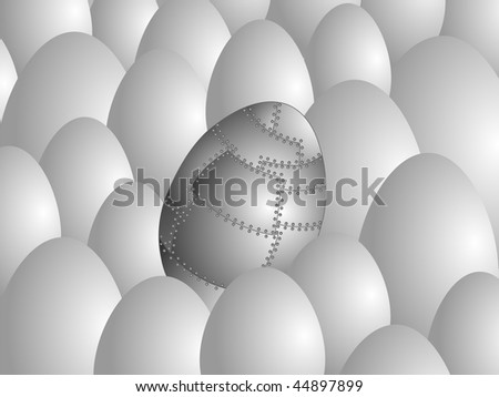 Egg made of metal sheets with rivets against usual eggs