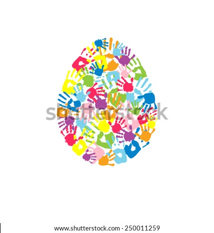 Egg made of the handprints of father, mother and children. Holiday symbol of new life. Can use as Easter card. - stock vector