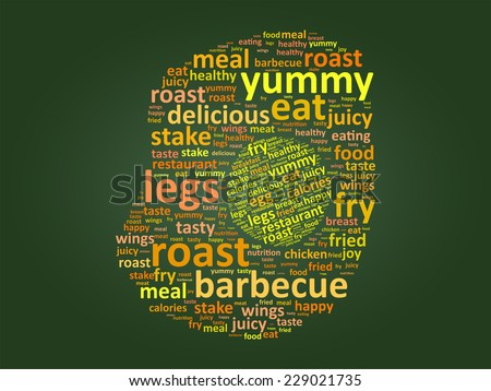 Egg Shape Food Word Cloud Concept On Green Chalkboard - stock vector