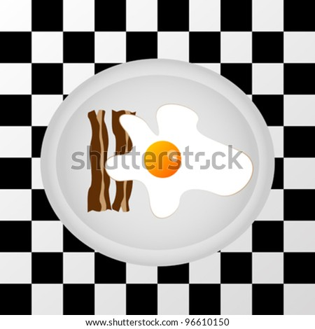 Egg with bacon on a plate on chess table background - stock vector
