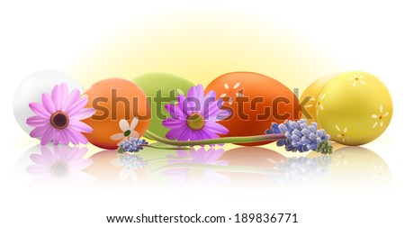 Egg with beautiful ornament with flowers - stock vector