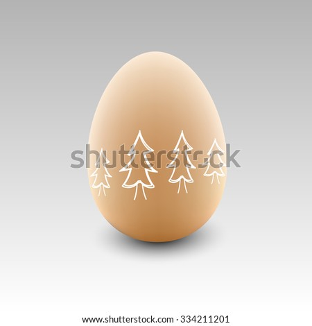 Egg with christmas tree - stock vector