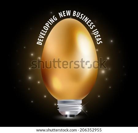 egg with light bulb Idea, business Idea concept - vector eps10 - stock vector