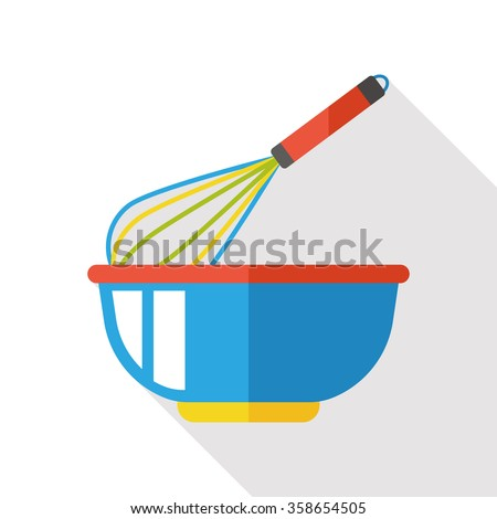 Eggbeater and bowl flat icon - stock vector