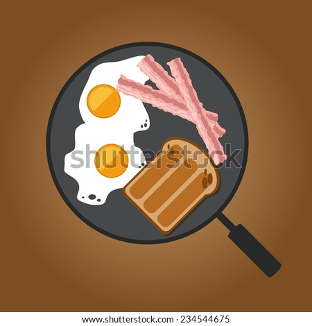 Eggs, bacon and toast on pan - stock vector