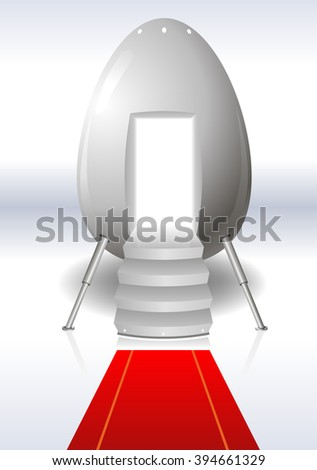 Eggs from outer space in the form of a manned capsule with red carpet - stock vector
