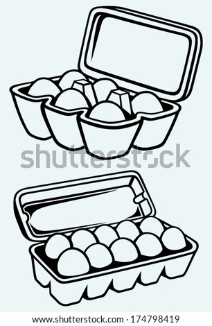 Eggs in a carton package. Image isolated on blue background - stock vector