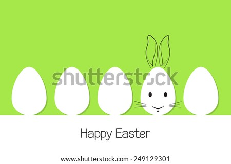 Eggs in paper cutout style with hand drawn Easter rabbit - stock vector