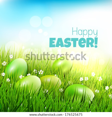 Eggs lying in the grass - Modern Easter greeting card - stock vector