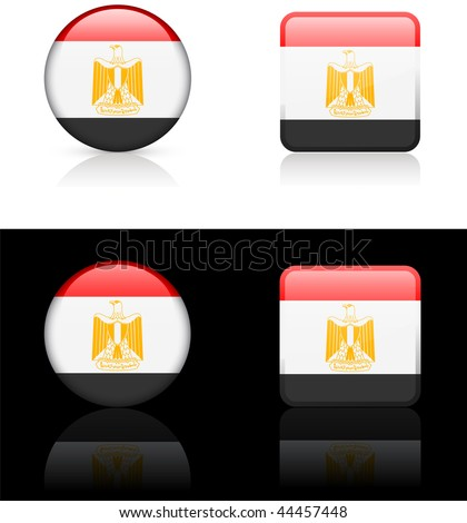 Egypt Flag Buttons on White and Black Background Original Vector Illustration - stock vector