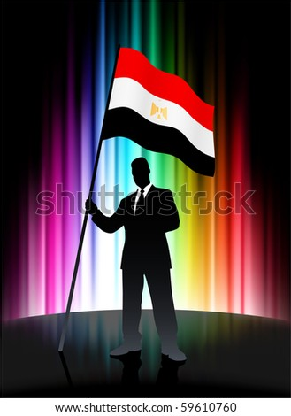 Egypt Flag with Businessman on Abstract Spectrum Background Original Illustration - stock vector