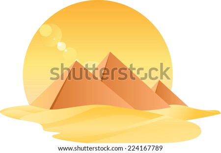 Egypt Great Pyramids Egyptology With Sand and Sun vector illustration. - stock vector