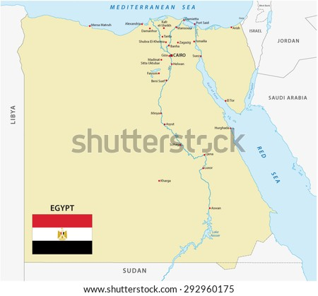egypt map with flag - stock vector