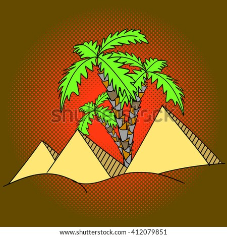 Egypt pyramids and palm trees pop art vector illustration - stock vector