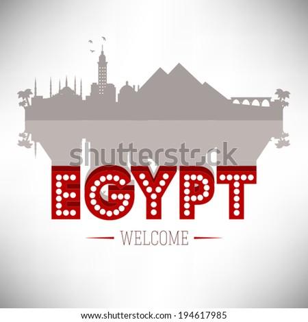 Egypt skyline silhouette design, vector illustration. - stock vector