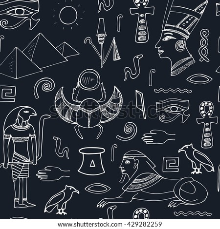 Egypt symbols seamless pattern Sketches. Hand-drawing. Vector illustration of for design and packages product.