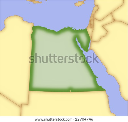 Egypt, vector map, with borders of surrounding countries. 5 named layers, fully editable. - stock vector