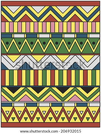 Egyptian ornament of colored lines, rectangles and triangles - stock vector