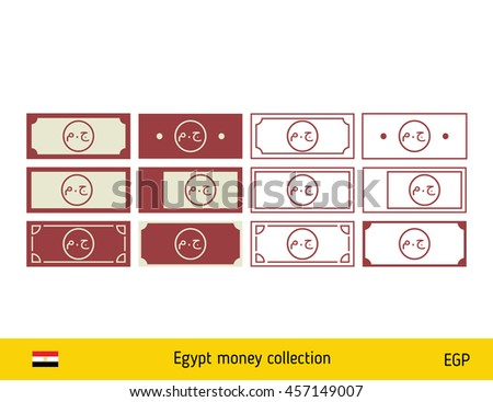 Egyptian Pound Banknote Money Icons Set Stock Vector Royalty Free