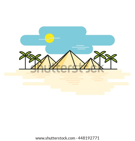 Egyptian pyramids illustration style line flat - stock vector