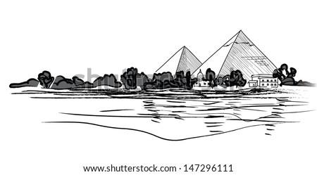 Egyptian Pyramids landscape. Pencil hand drawn vector illustration. - stock vector