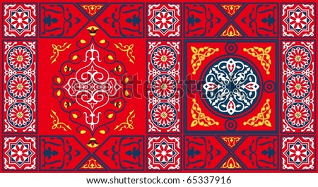 Egyptian Tent Fabric Pattern2 Red-vector - stock vector