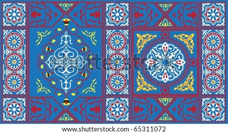 Egyptian Tent Pattern1 Blue-vector - stock vector