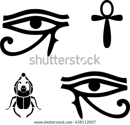Egyptian Vector Symbols Eye Ra Ankh Stock Vector Royalty Free