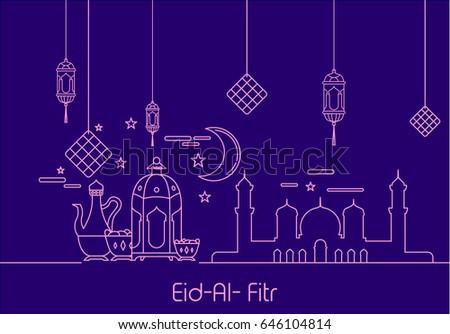 Amazing Ramadan Eid Al-Fitr Greeting - stock-vector-eid-al-fitr-background-in-mono-line-style-with-shadow-for-eid-and-ramadan-mubarak-greeting-card-646104814  Pictures_242191 .jpg