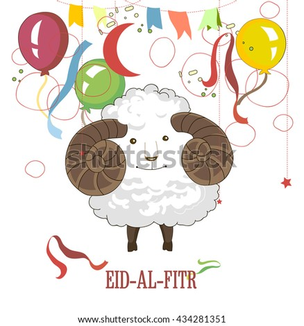 Eid-al-fitr, Eid Mubarak. An illustration of sheep with the colourful balloon on a white background for an Islamic Festival of the Victim - stock vector