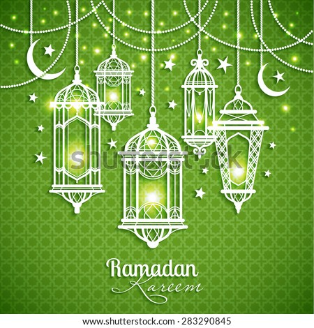 Eid Mibarac abstract vector background on green. - stock vector