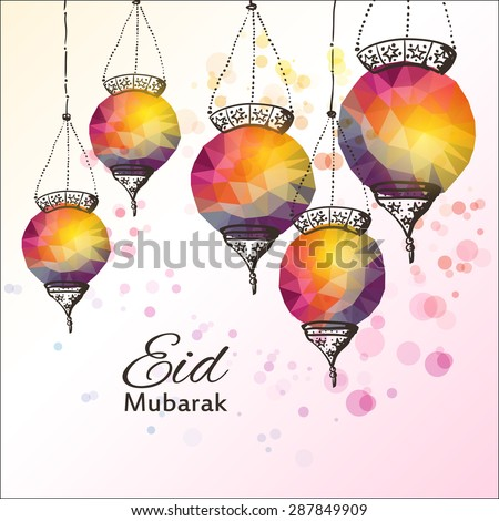 Eid Mubarak background. Eid Mubarak - traditional Muslim greeting. Festive hanging arabic lamps. Greeting card or invitation for Muslim Community events. Vector illustration. - stock vector