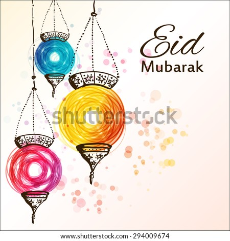 Eid mubarak background eid mubarak traditional stock vector eid mubarak traditional muslim greeting festive hanging arabic lamps m4hsunfo