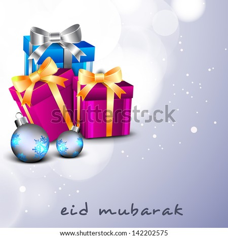 Eid Mubarak background with gift boxes wrapped in ribbon on shiny abstract background.
