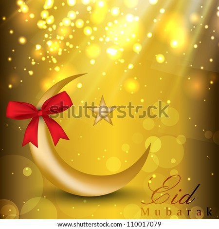 Eid Mubarak background with golden moon, star and red ribbon. EPS 10. - stock vector