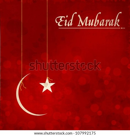 Eid Mubarak background with hanging golden moon and star. EPS 10. - stock vector